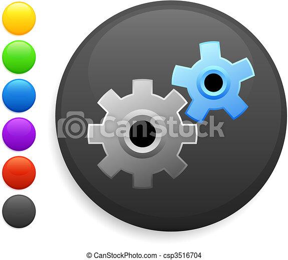 gear icon on round internet button - csp3516704