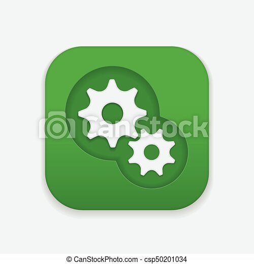 Gear Icon on square button, gear mechanism icon. - csp50201034