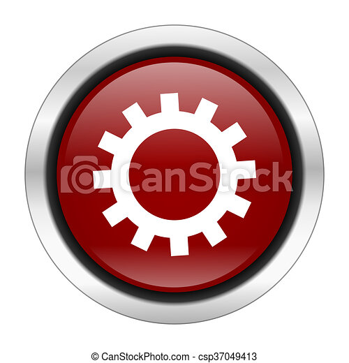 gear icon, red round button isolated on white background, web design illustration - csp37049413