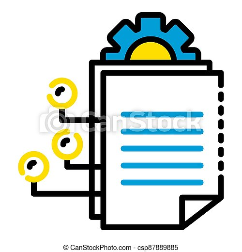 Gear office document icon, outline style - csp87889885