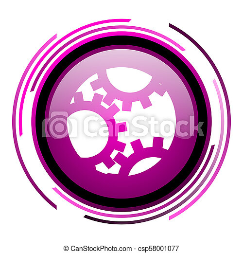 Gear pink glossy web icon isolated on white background - csp58001077