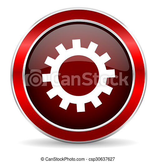 gear red circle glossy web icon, round button with metallic border - csp30637627