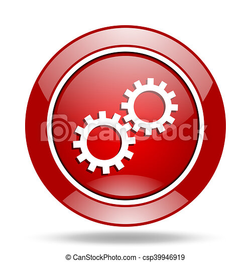 gear red web glossy round icon - csp39946919