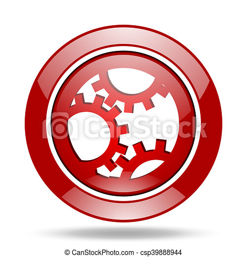 gear red web glossy round icon - csp39888944