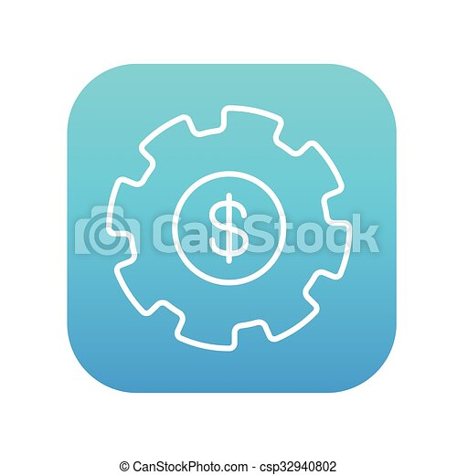 Gear with dollar sign line icon. - csp32940802