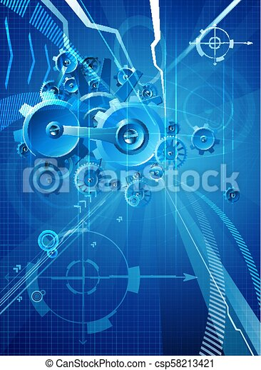 Gears and Cogs Blue Business Background - csp58213421