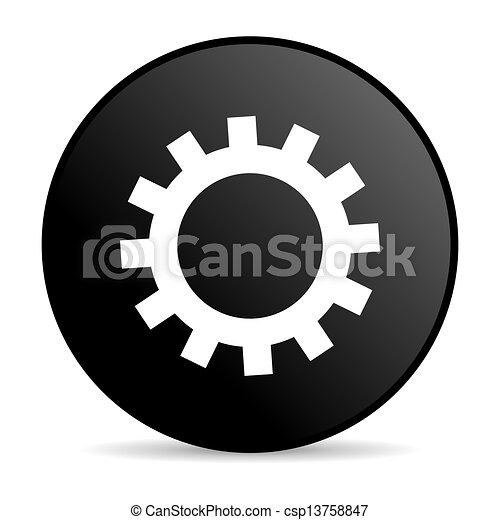 gears black circle web glossy icon - csp13758847