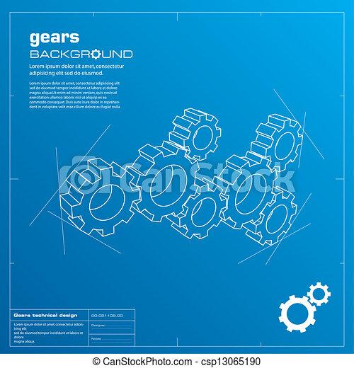 Gears blueprint background. Vector. - csp13065190