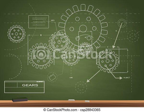Gears blueprint illustration gears blueprint chalkboard vector gears blueprint illustration malvernweather Choice Image