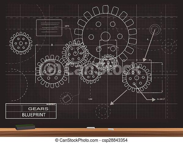 Gears blueprint illustration gears blueprint chalkboard vector gears blueprint illustration malvernweather Images