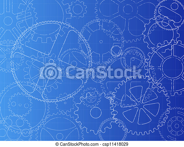 Gears blueprint grungy technical gears illustration on blue gears blueprint csp11418029 malvernweather Image collections