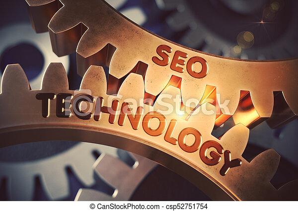 gears., doré, seo, technologie, 3d. - csp52751754