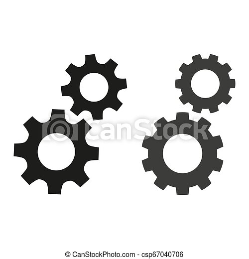 Gears flat icons on white background. - csp67040706