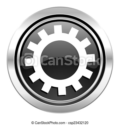 gears icon, black chrome button, options sign - csp23432120