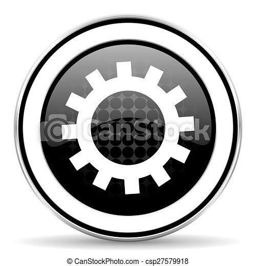 gears icon, black chrome button, options sign - csp27579918