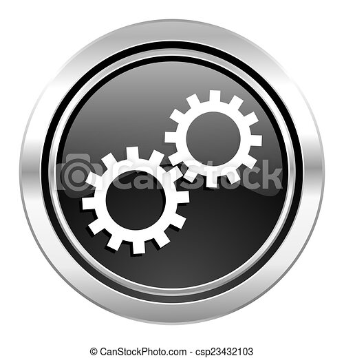 gears icon, black chrome button, options sign - csp23432103