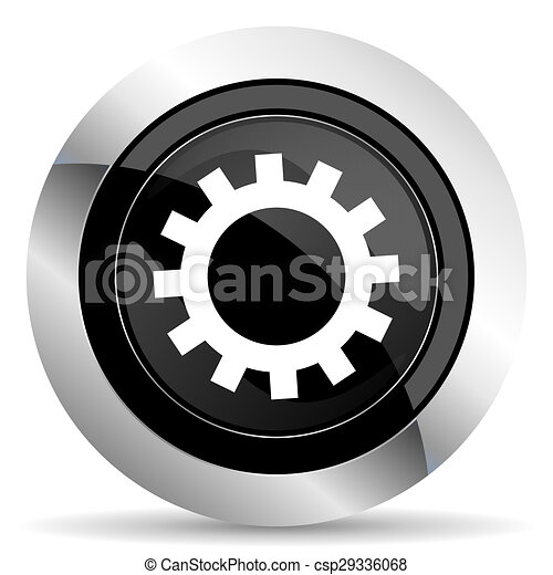 gears icon, black chrome button, options sign - csp29336068