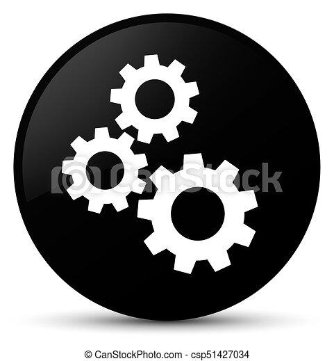 Gears icon black round button - csp51427034