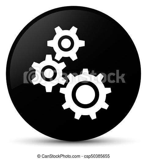 Gears icon black round button - csp50385655