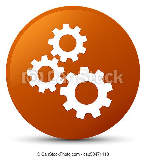 Gears icon brown round button - csp50471110