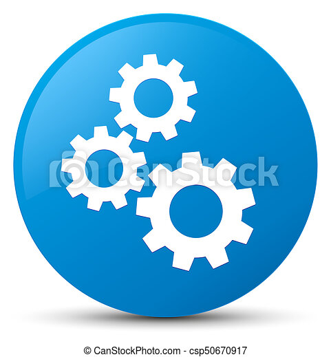 Gears icon cyan blue round button - csp50670917