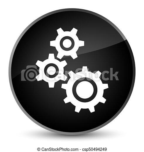 Gears icon elegant black round button - csp50494249