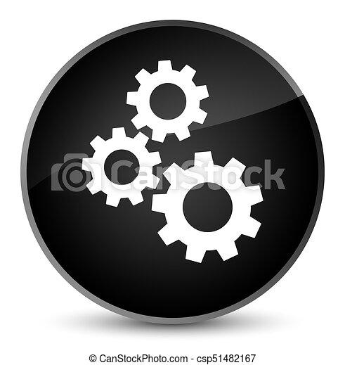 Gears icon elegant black round button - csp51482167