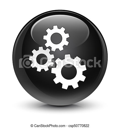 Gears icon glassy black round button - csp50770822