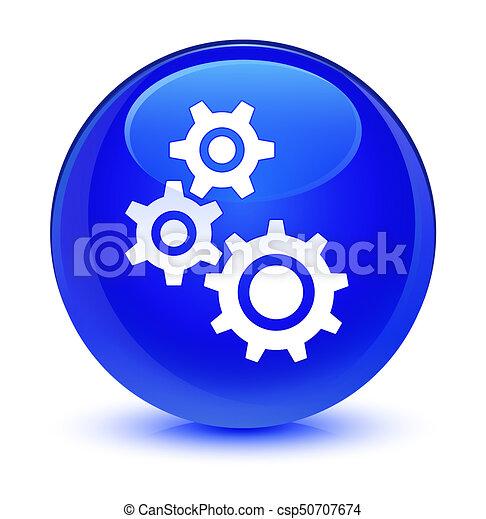 Gears icon glassy blue round button - csp50707674