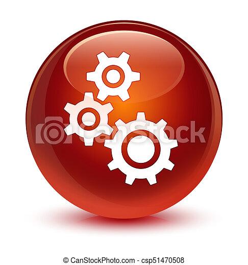Gears icon glassy brown round button - csp51470508
