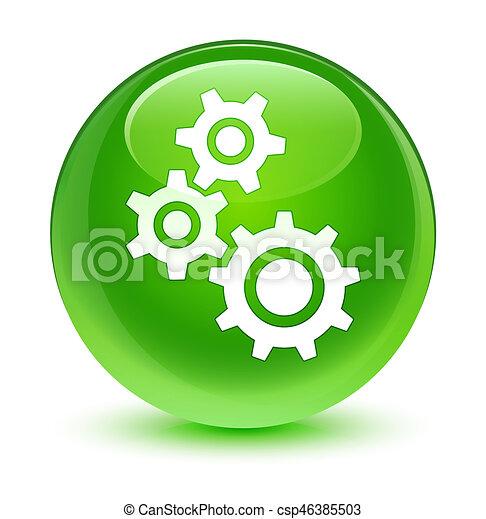 Gears icon glassy green round button - csp46385503