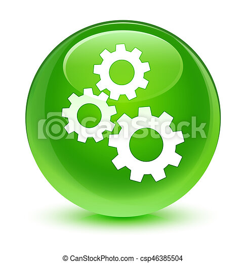 Gears icon glassy green round button - csp46385504