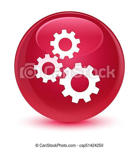 Gears icon glassy pink round button - csp51424250