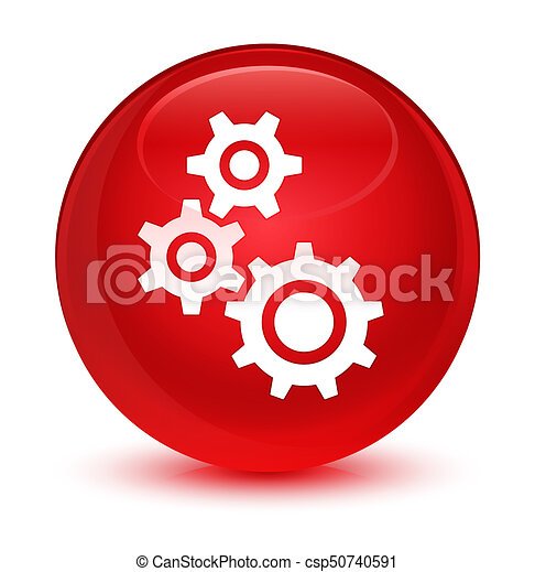 Gears icon glassy red round button - csp50740591