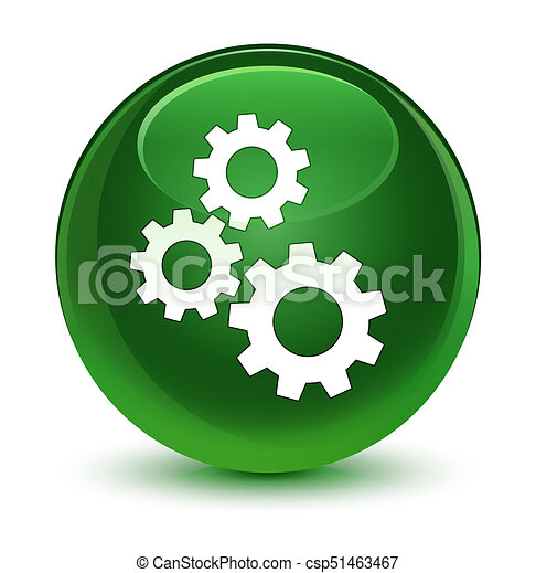 Gears icon glassy soft green round button - csp51463467
