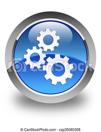 Gears icon glossy blue round button 2 - csp35060308