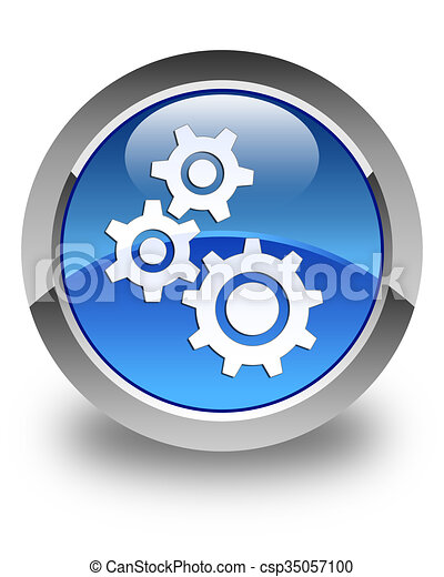 Gears icon glossy blue round button - csp35057100