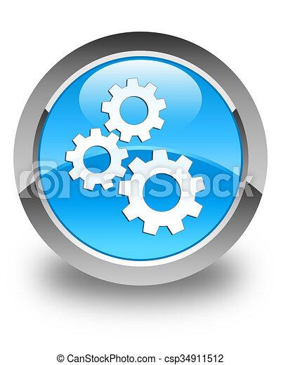 Gears icon glossy cyan blue round button - csp34911512
