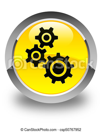 Gears icon glossy yellow round button - csp50767952