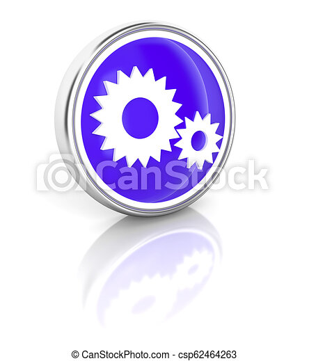 Gears icon on glossy blue round button - csp62464263
