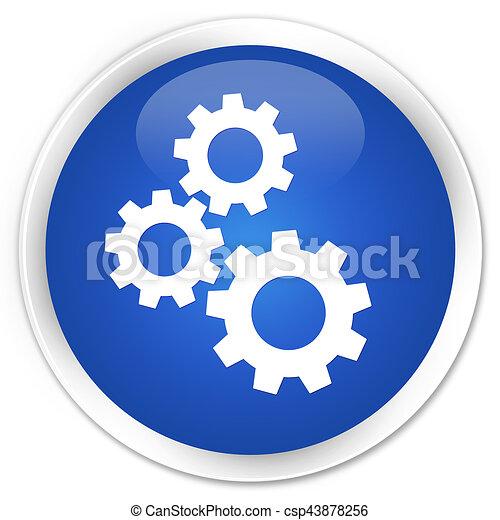 Gears icon premium blue round button - csp43878256