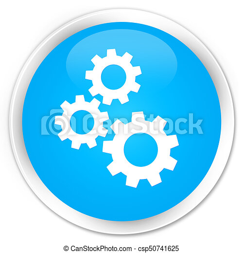 Gears icon premium cyan blue round button - csp50741625
