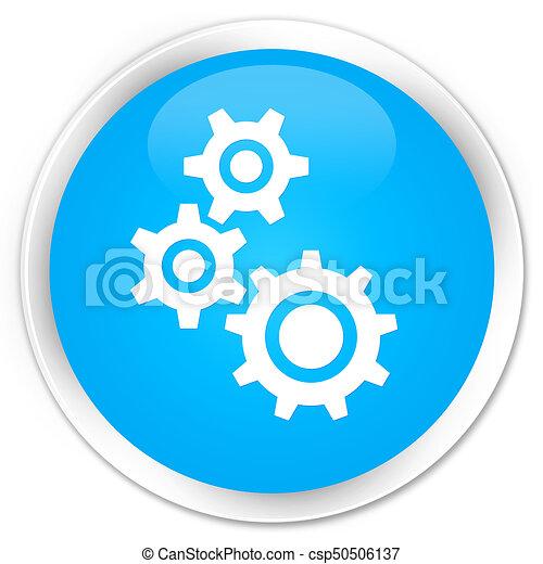 Gears icon premium cyan blue round button - csp50506137