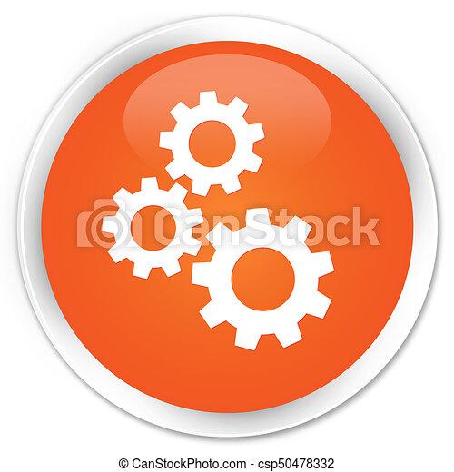 Gears icon premium orange round button - csp50478332