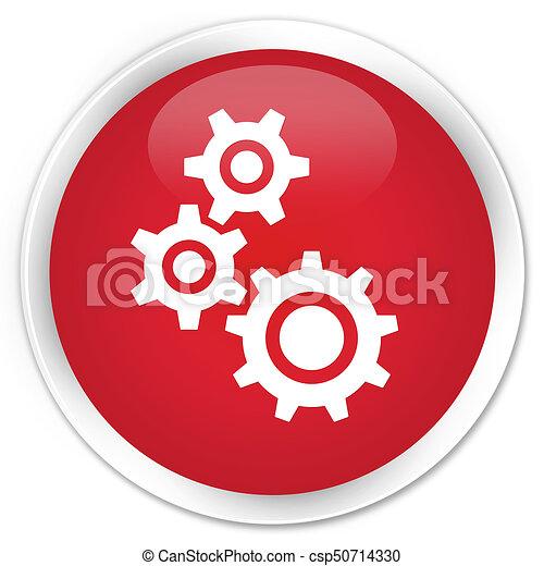 Gears icon premium red round button - csp50714330