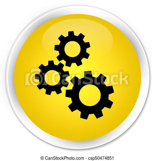 Gears icon premium yellow round button - csp50474851