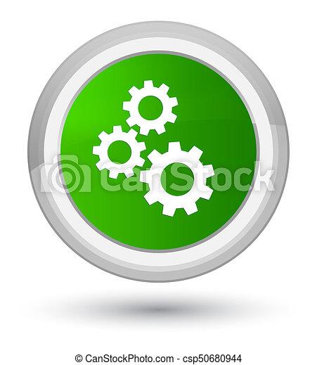 Gears icon prime green round button - csp50680944
