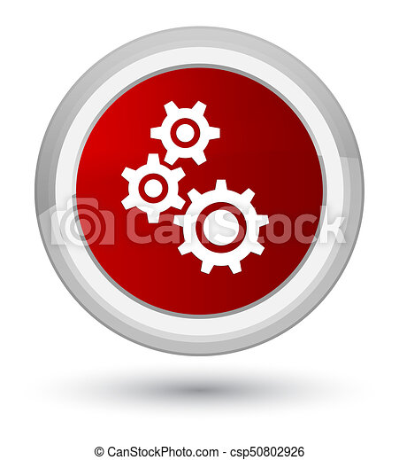 Gears icon prime red round button - csp50802926