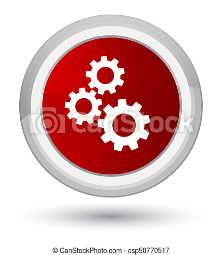 Gears icon prime red round button - csp50770517