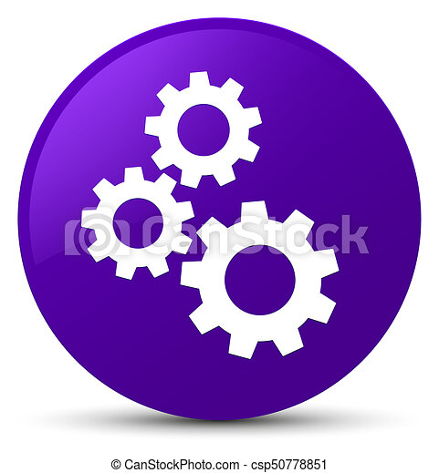 Gears icon purple round button - csp50778851